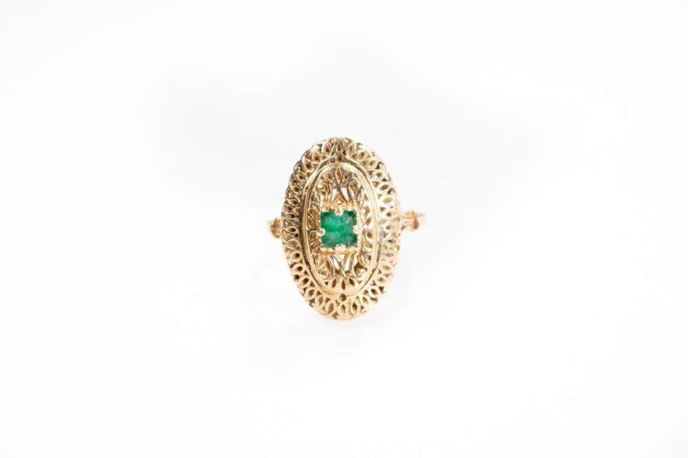 14KT Antique Emerald Ring