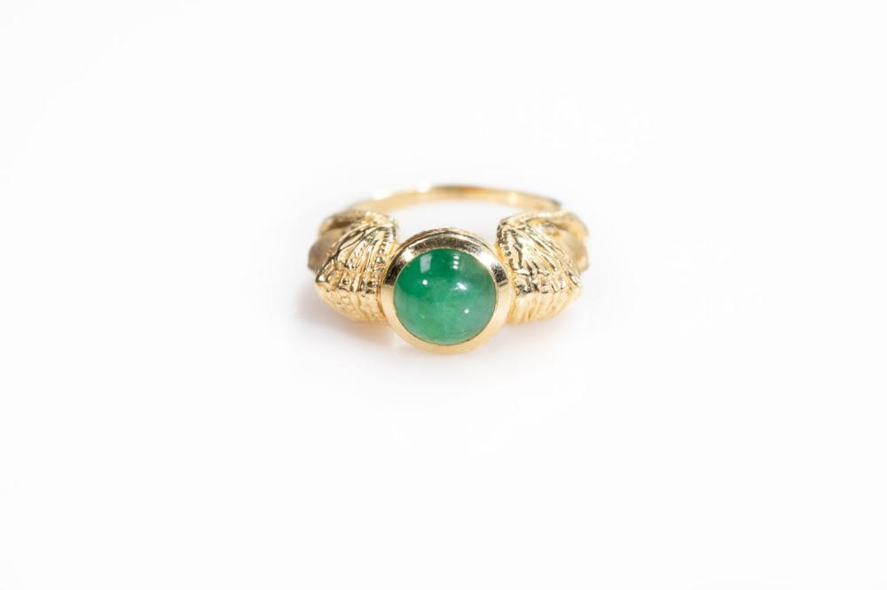 14KT Vintage Jade Egytian Revival Ring