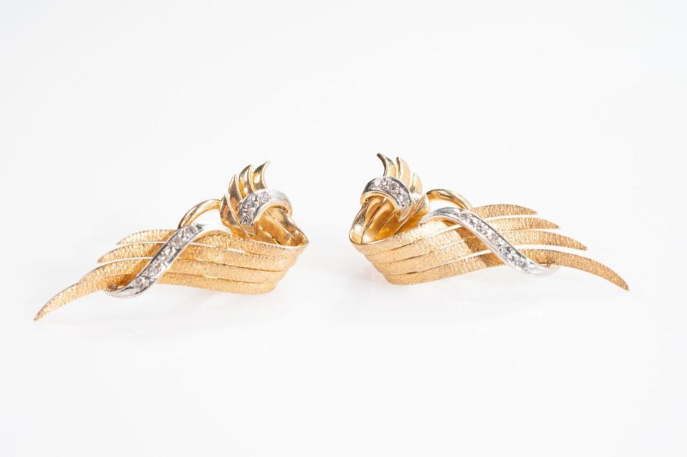18KR/Platinum Estate Diamond Earrings