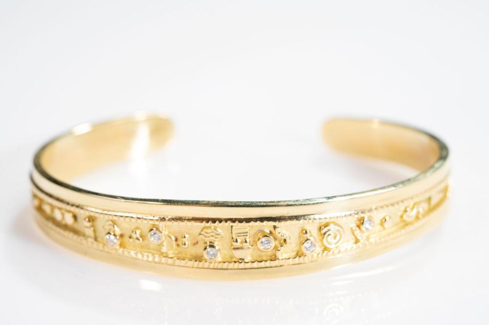 18KT Estate Hieroglyphic Diamond Bangle Bracelet