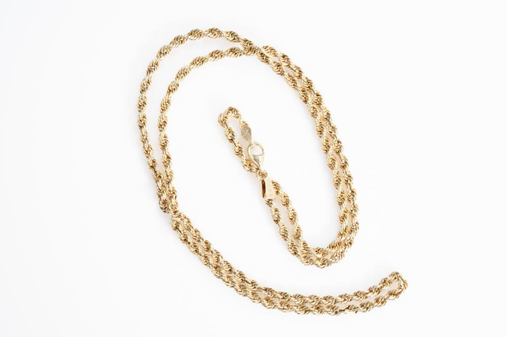 """10KT  Estate Rope Chain 26"""""""
