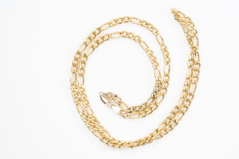 "10KT  Estate Solid Figaro Chain 30"""