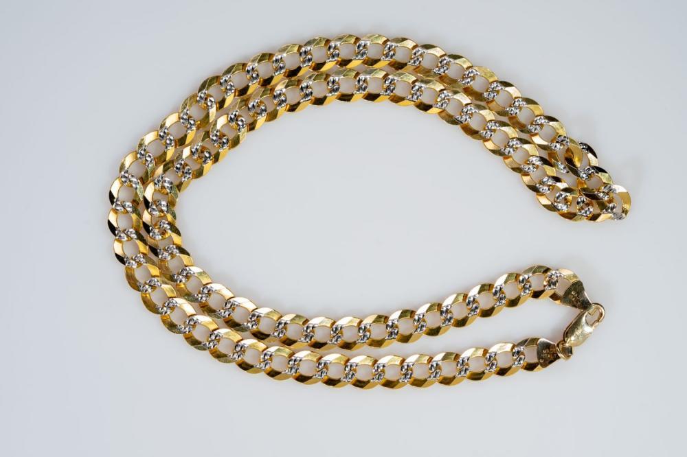 """10KT Italian Diamond Cut Curb Link Chain 22"""""""