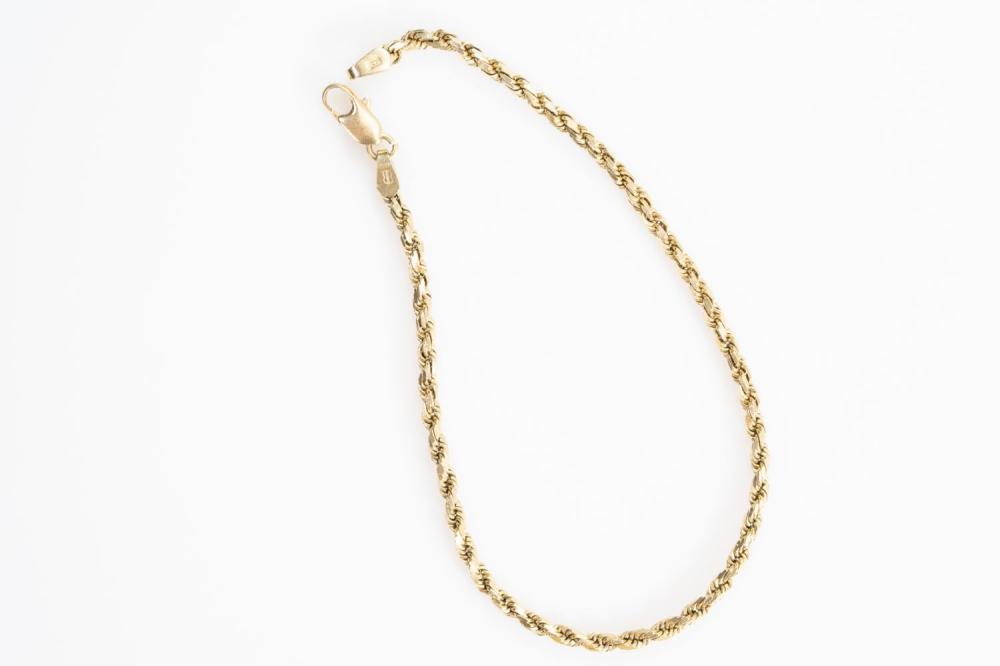 """14KY Estate Rope Bracelet 8"""""""