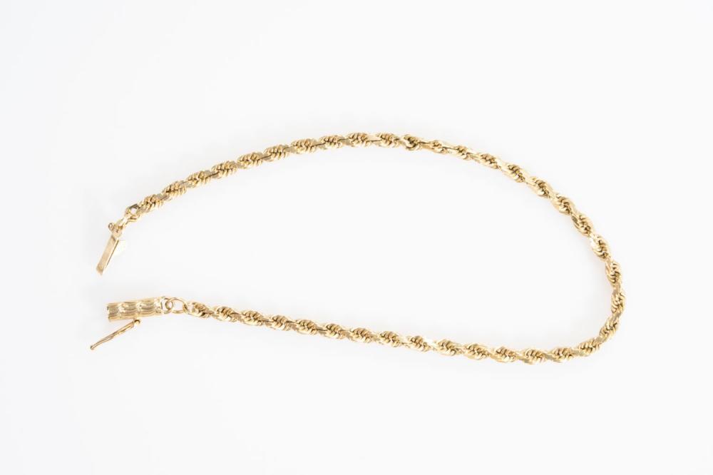 """14KY Estate Rope Bracelet 7.25"""""""