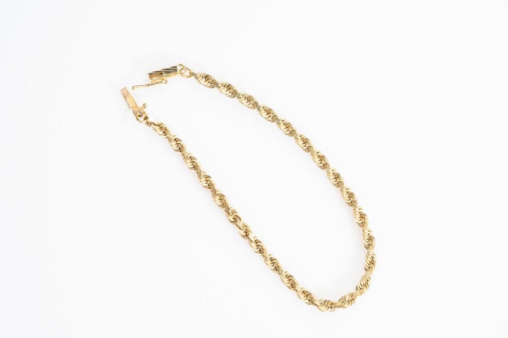 """14KY Estate Rope Bracelet 7"""""""