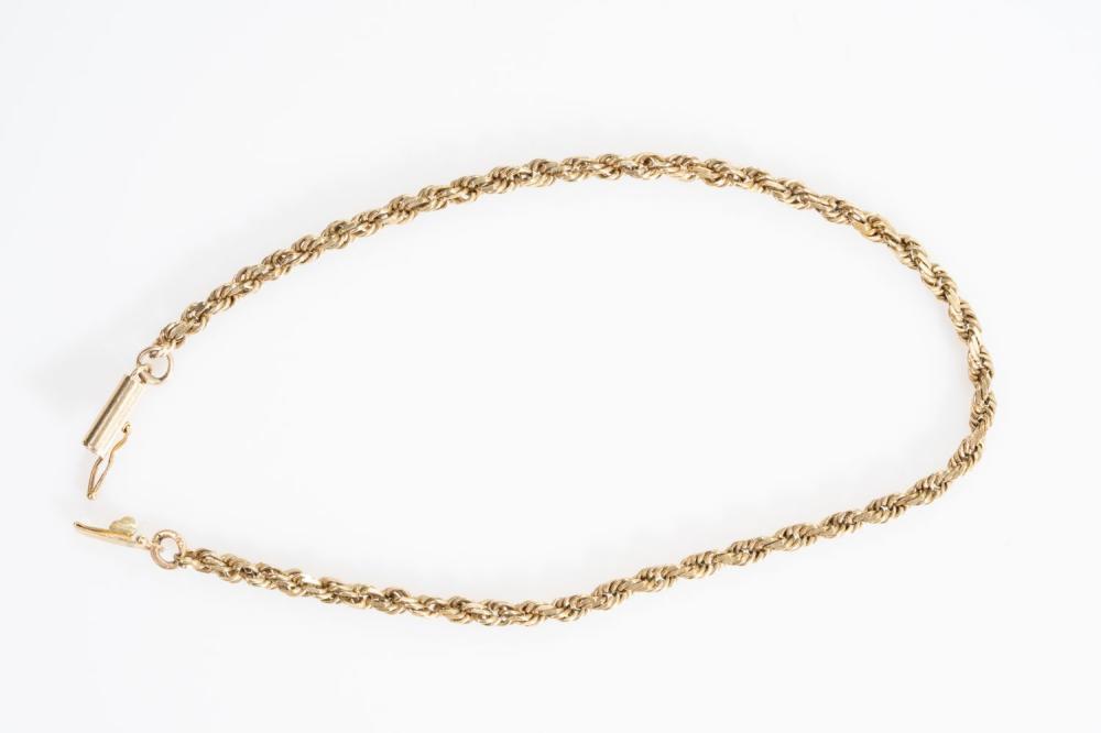 """14KY Estate Rope Bracelet 8.75"""""""