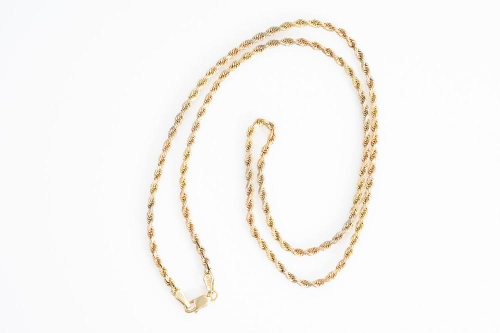 """14KT Tri Color Rope Chain 22"""""""