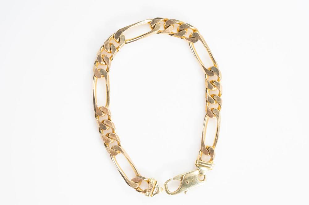 "14KY Italian Solid Figaro Bracelet 8.75"""