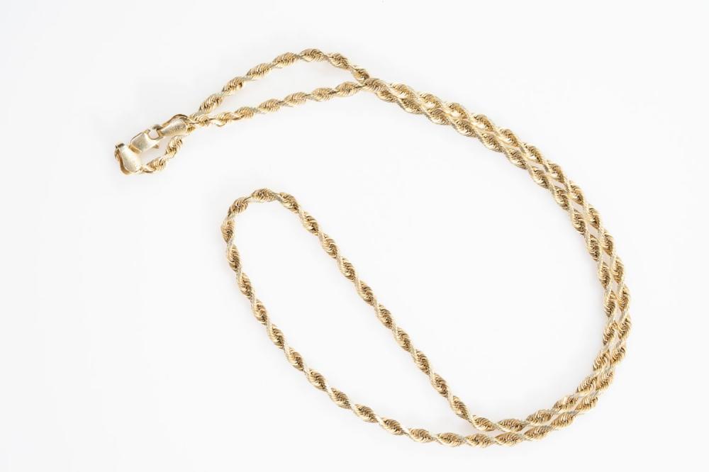 """14KY Peruvian Rope Chain 18"""""""