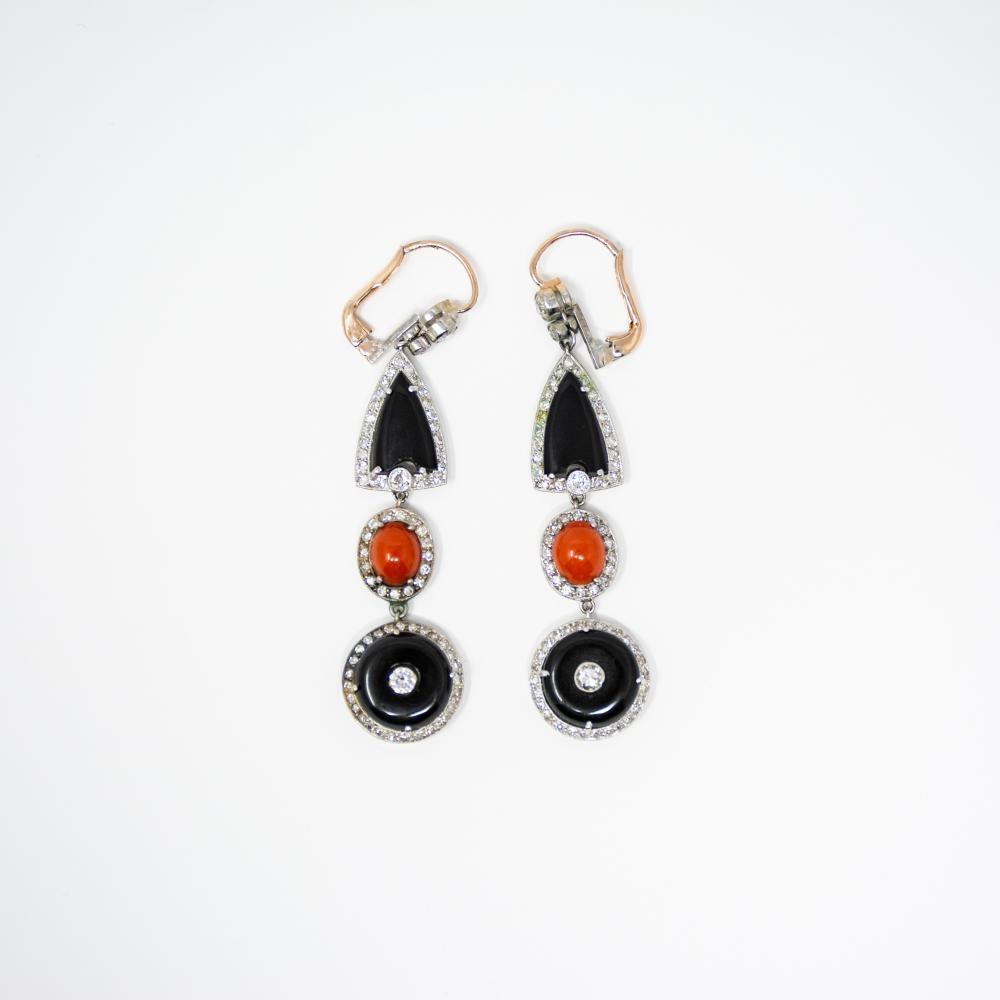 Art Deco Platinum Onyx Coral and Diamond Earrings