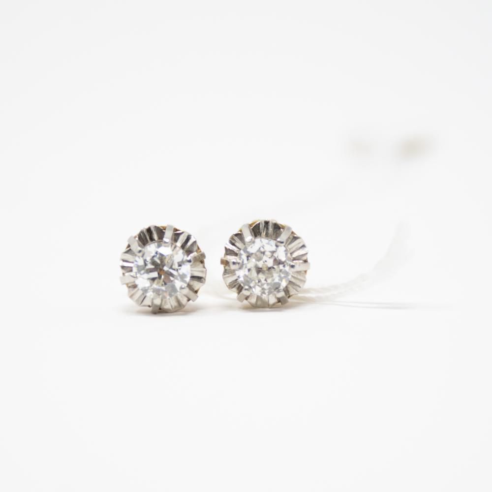 Platinum/18KT 1.20ct Diamond Stud Earrings