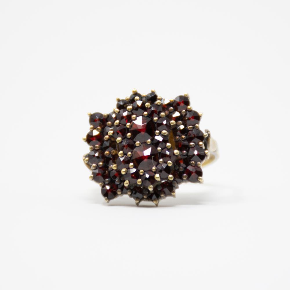 1920s Bohemian Garnet Cluster Ring