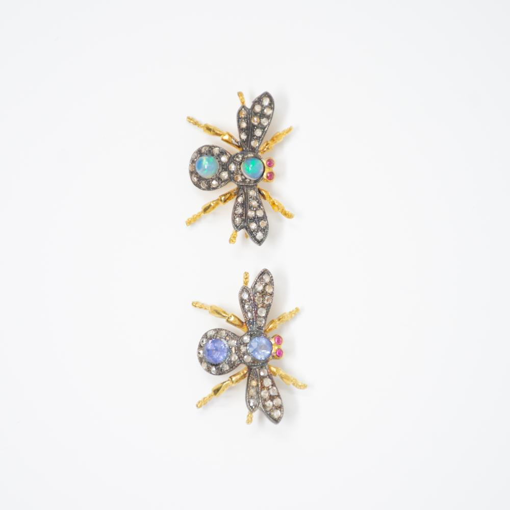 Victorian Style Fly Brooch lot of 2