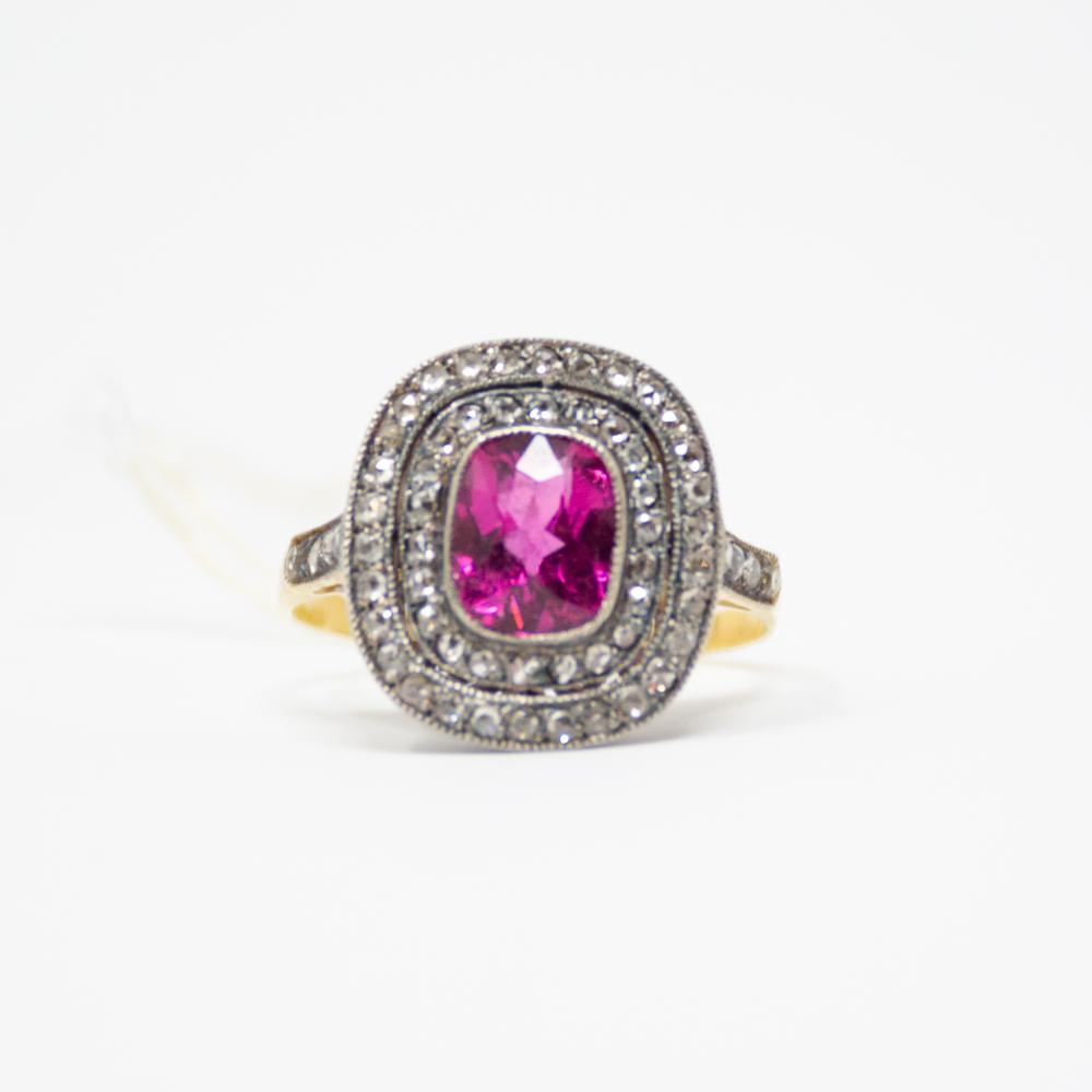 18KT Vintage Diamond and Rubellite Ring