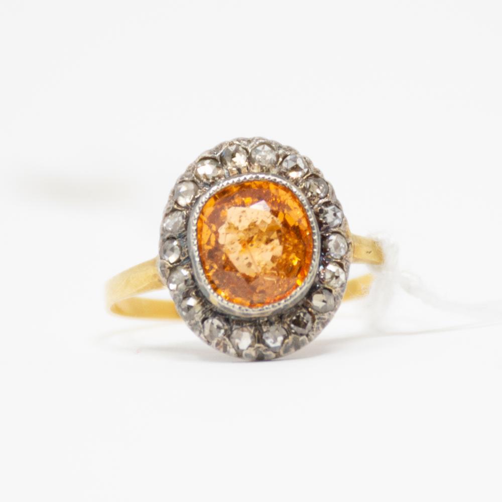 18KT Victorian Mandarin Garnet and Diamond Ring