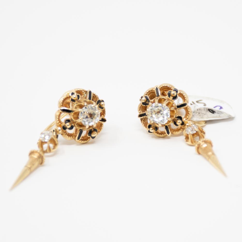 18KT Victorian Old Mine Cut Diamond Drop Earrings