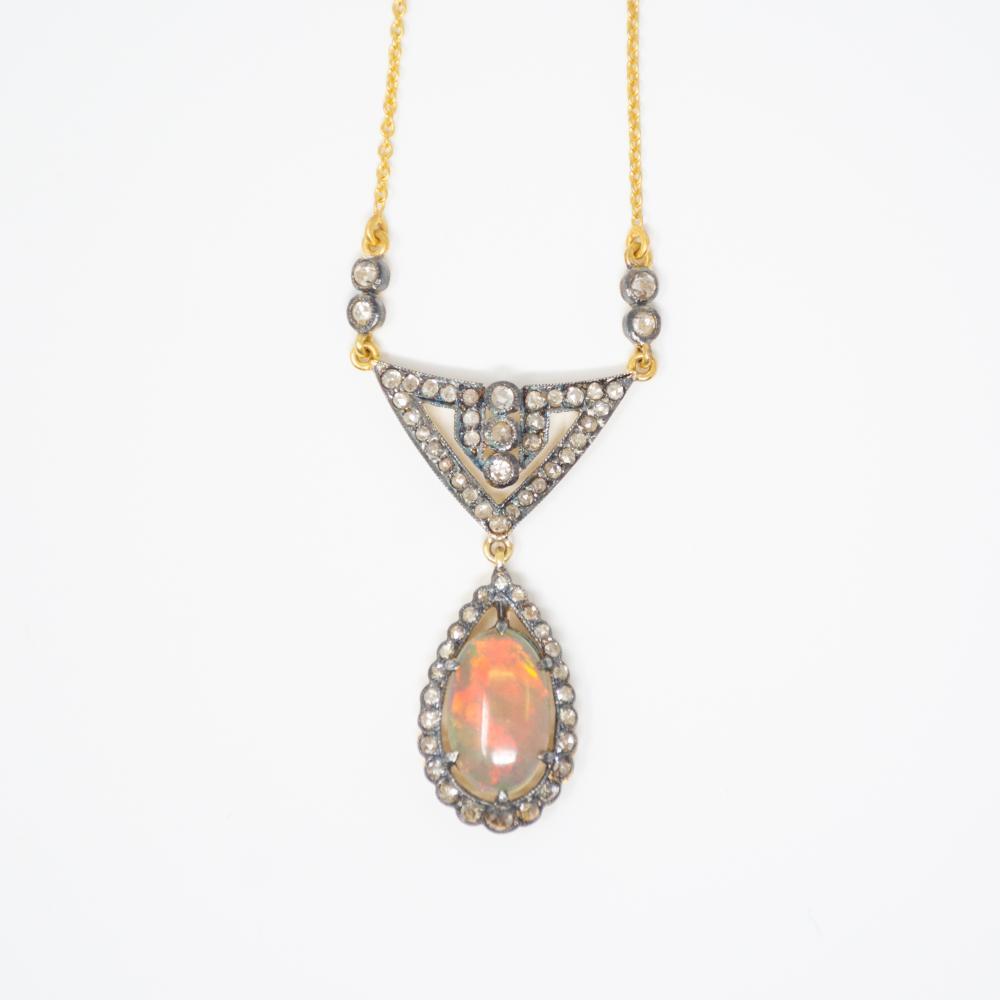 14KT Vintage Rose Cut Diamond and Opal Necklace