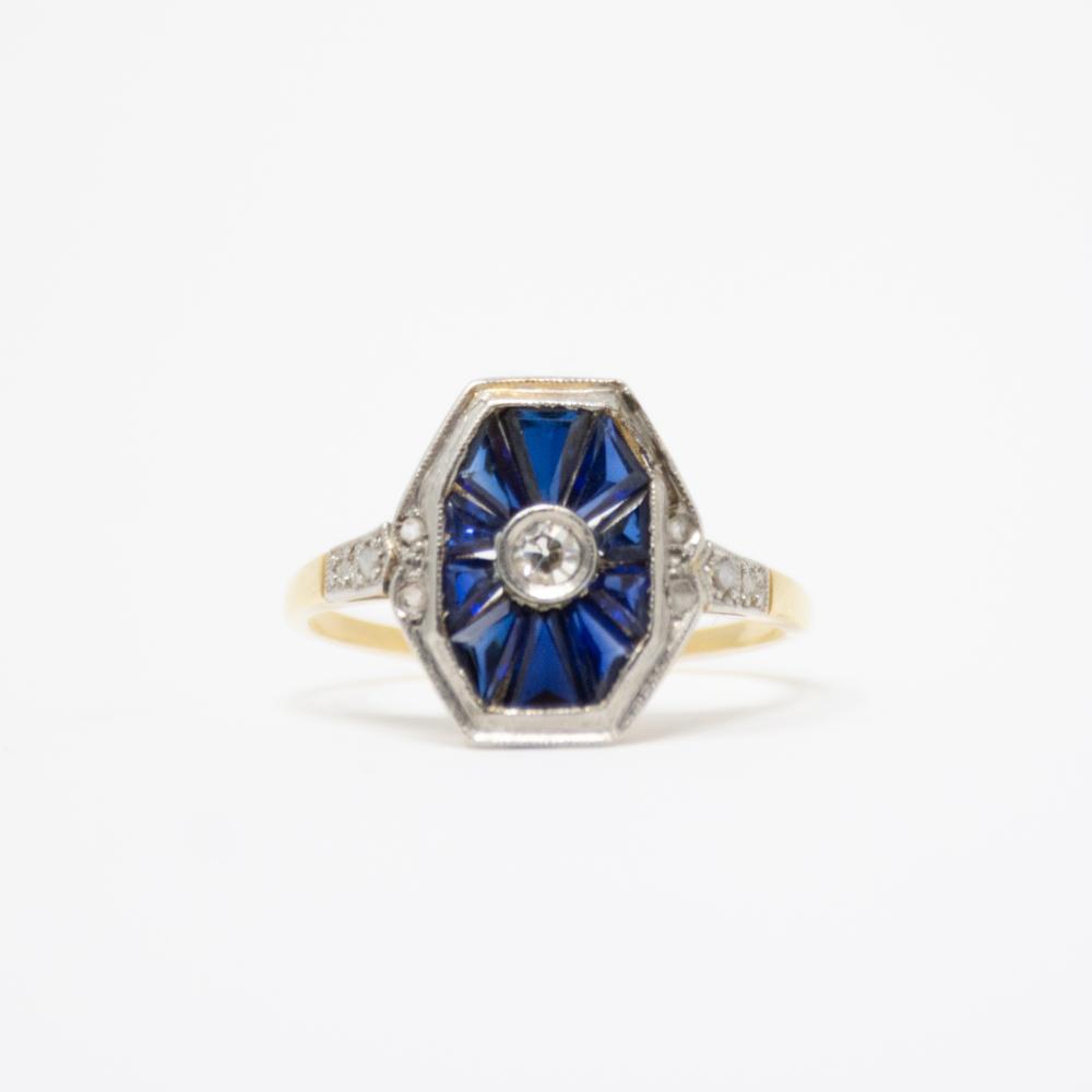 18KT/Platinum 1920s  Sapphire and Diamond Ring