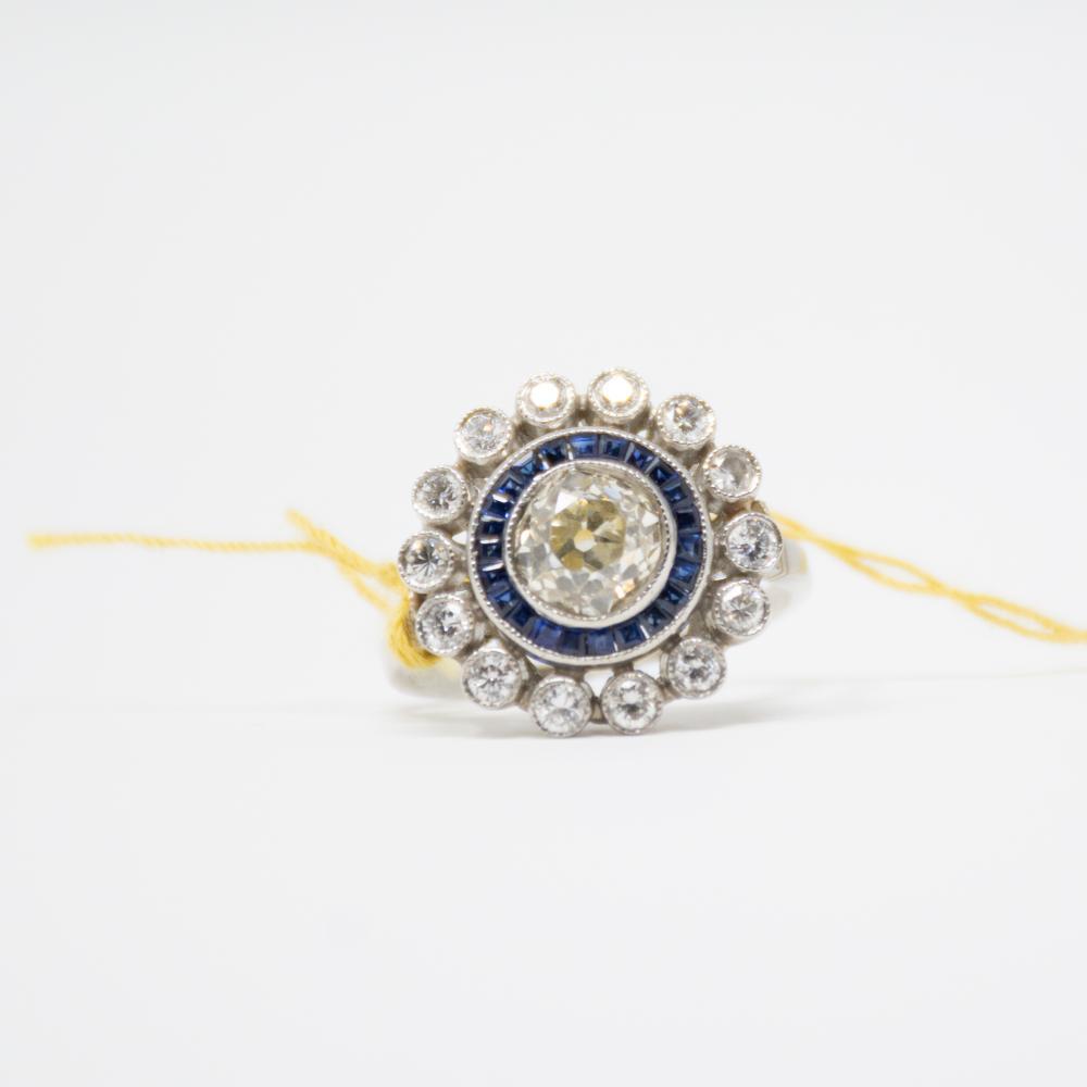 Platinum 1920s Art Deco Old Mine Cut Diamond Ring