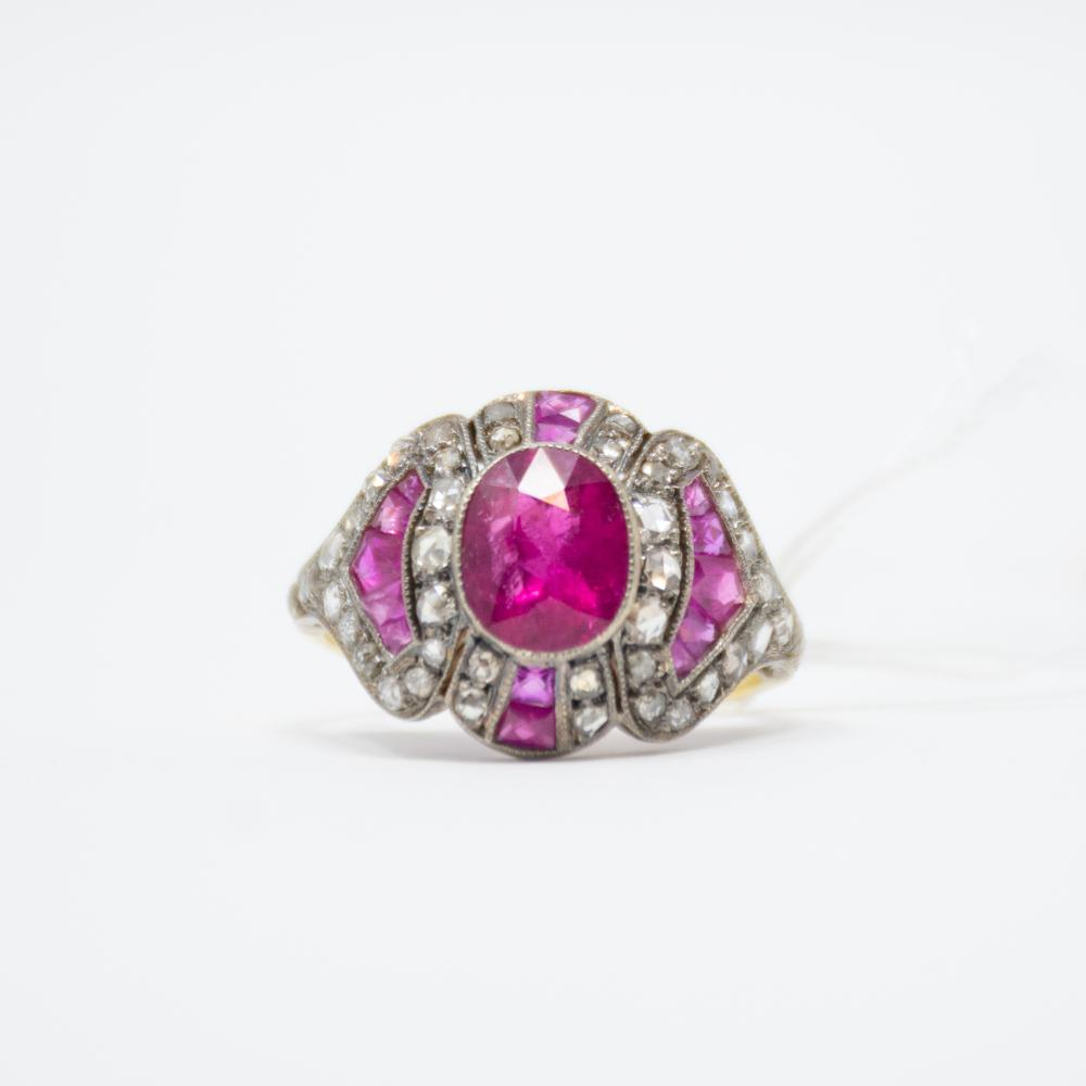 18KT Vintage Rubellite and Diamond Ring