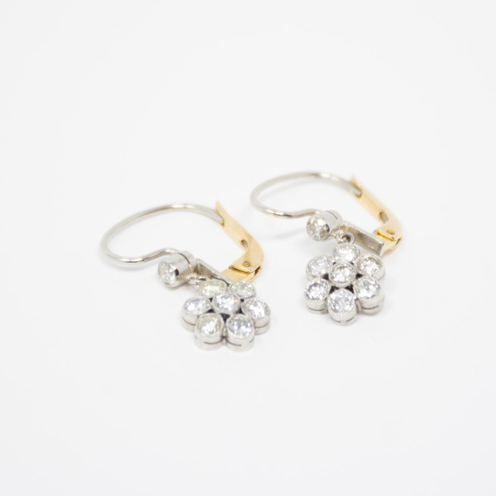 Platinum Estate 1.10ct Diamond Floral Earrings