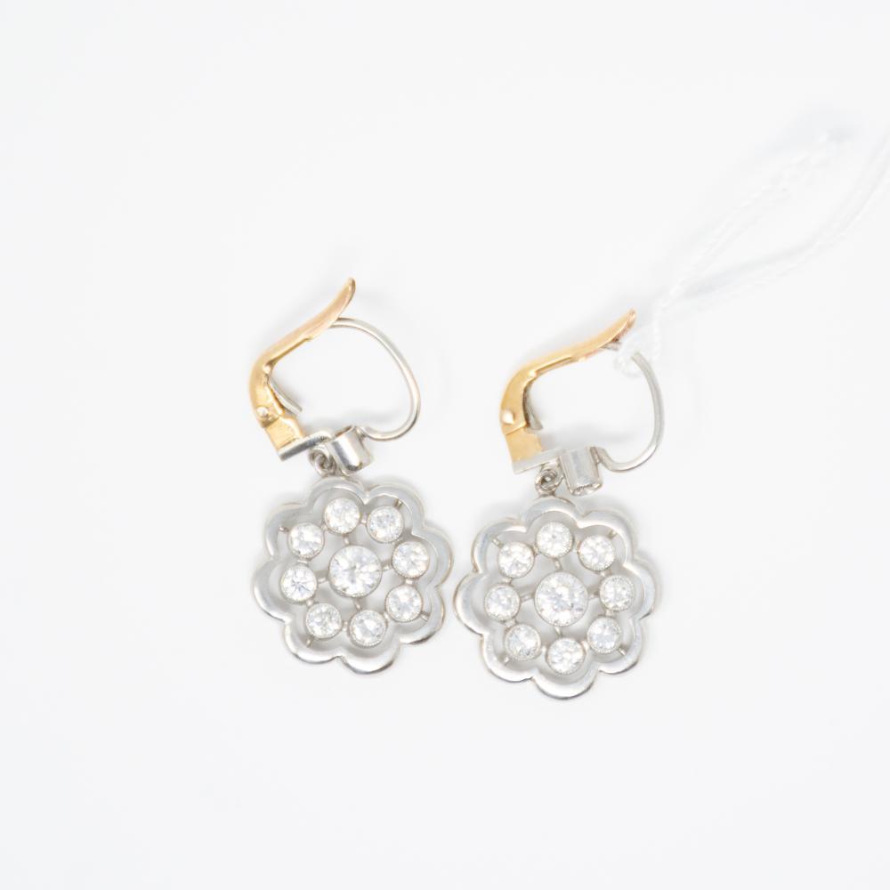 Platinum Estate 2.00ct Diamond Floral Earrings