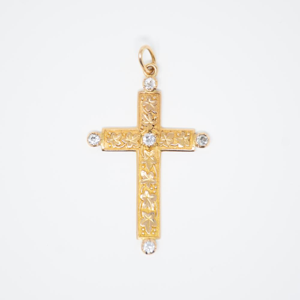 18KY Art Nouveau .60ct Old Mine Cut Diamond  Religious Cross