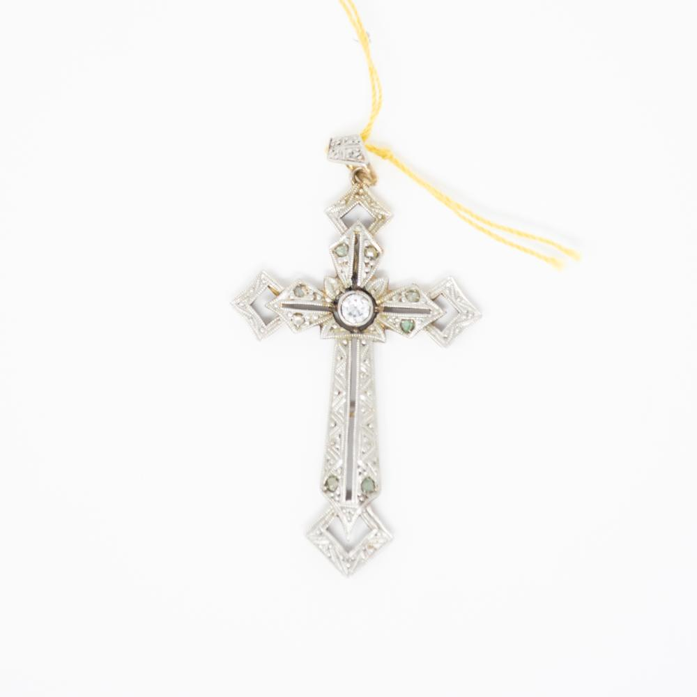 18KT 1920s Diamond Cross