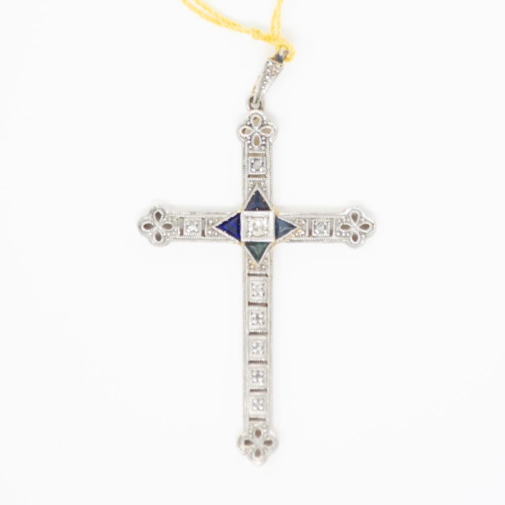 1930s 18KT Diamond and Sapphire Cross