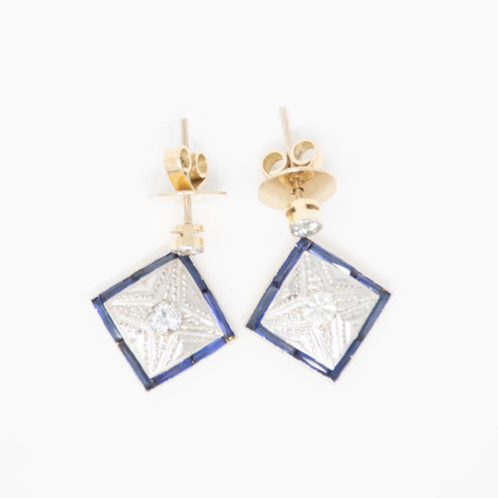18KT 1920s Sapphire and Diamond Earrings