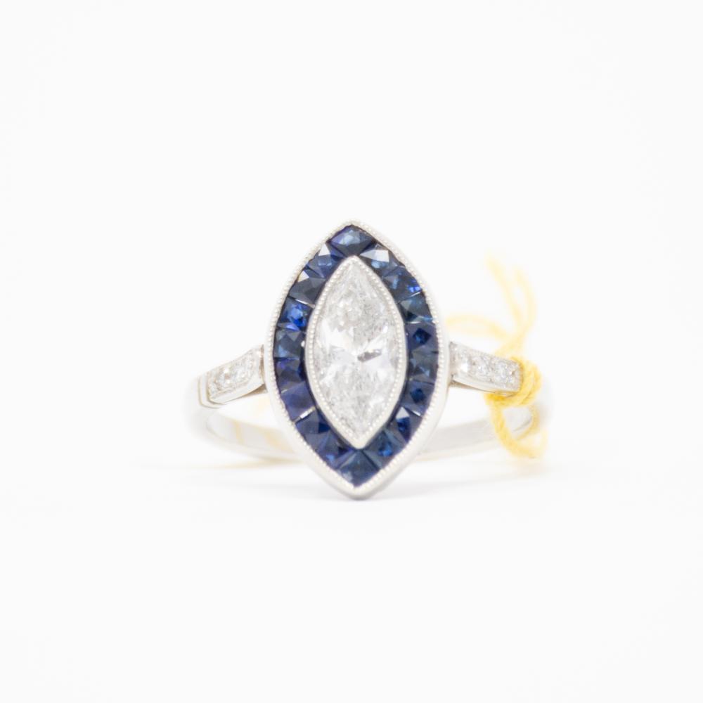 Platnium Art Deco with 1.02ct Diamond Marguise Ring