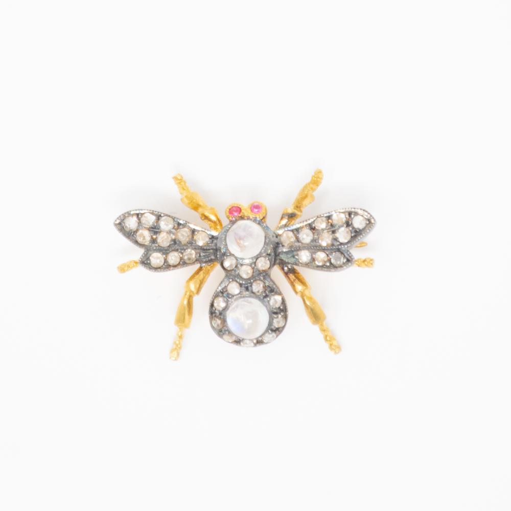 14KT Vintage Moonstone and Diamond Fly Brooch