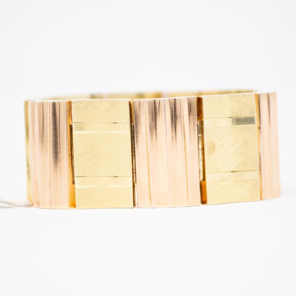 14KT 1940s Bold Gold Bi Color Bracelet 56.8gr
