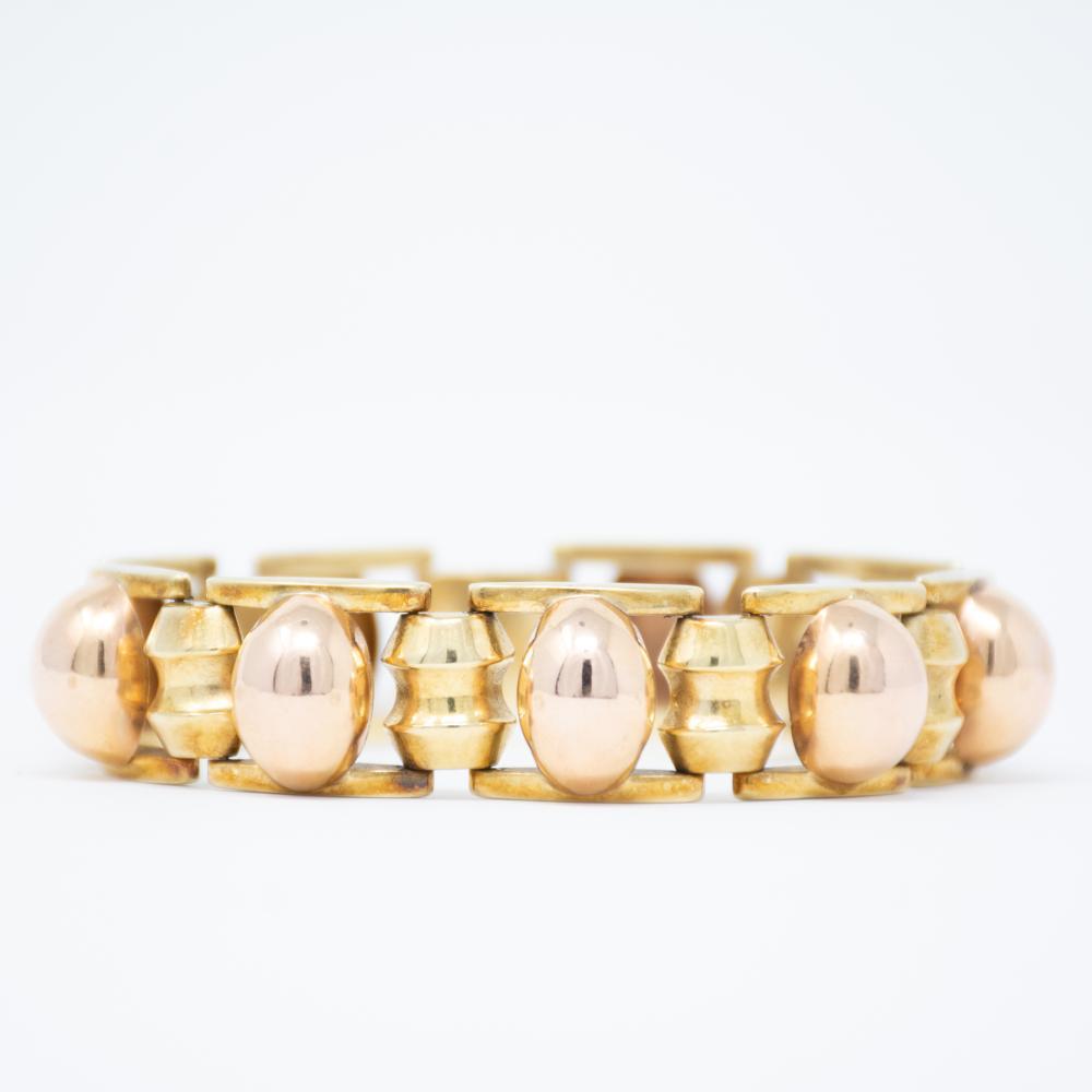 14KT 1940s Bold Gold Bi Color Bracelet 24.3gr