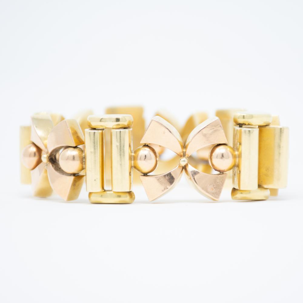 14KT 1940s Bold Gold Bi Color Bracelet 50.2gr