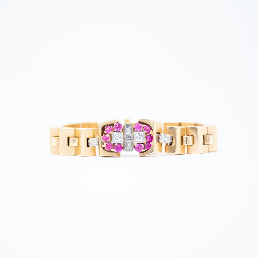 18KT Retro Ruby and Diamond Bracelet