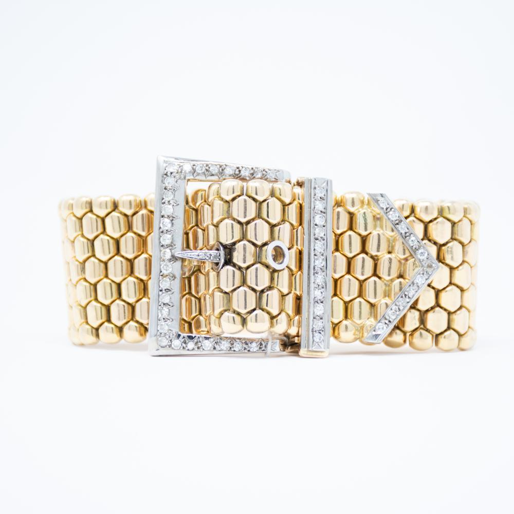 18KT/Platinum Art Retro Bet Buckle Bracelet