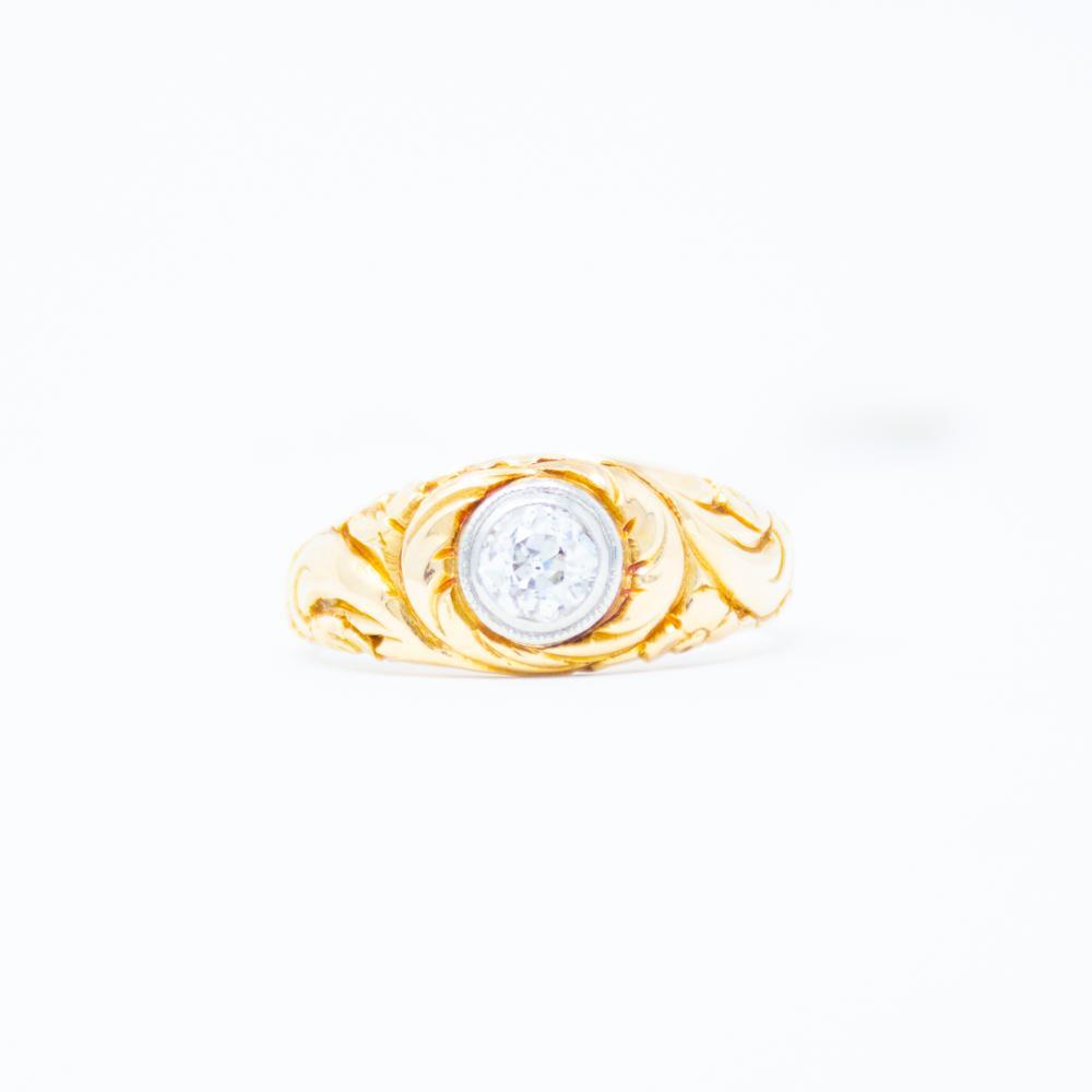 14KT Antique Diamond Mens Ring
