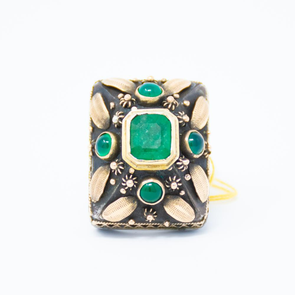 18KY 1930s 3.00ct Emerald Ring