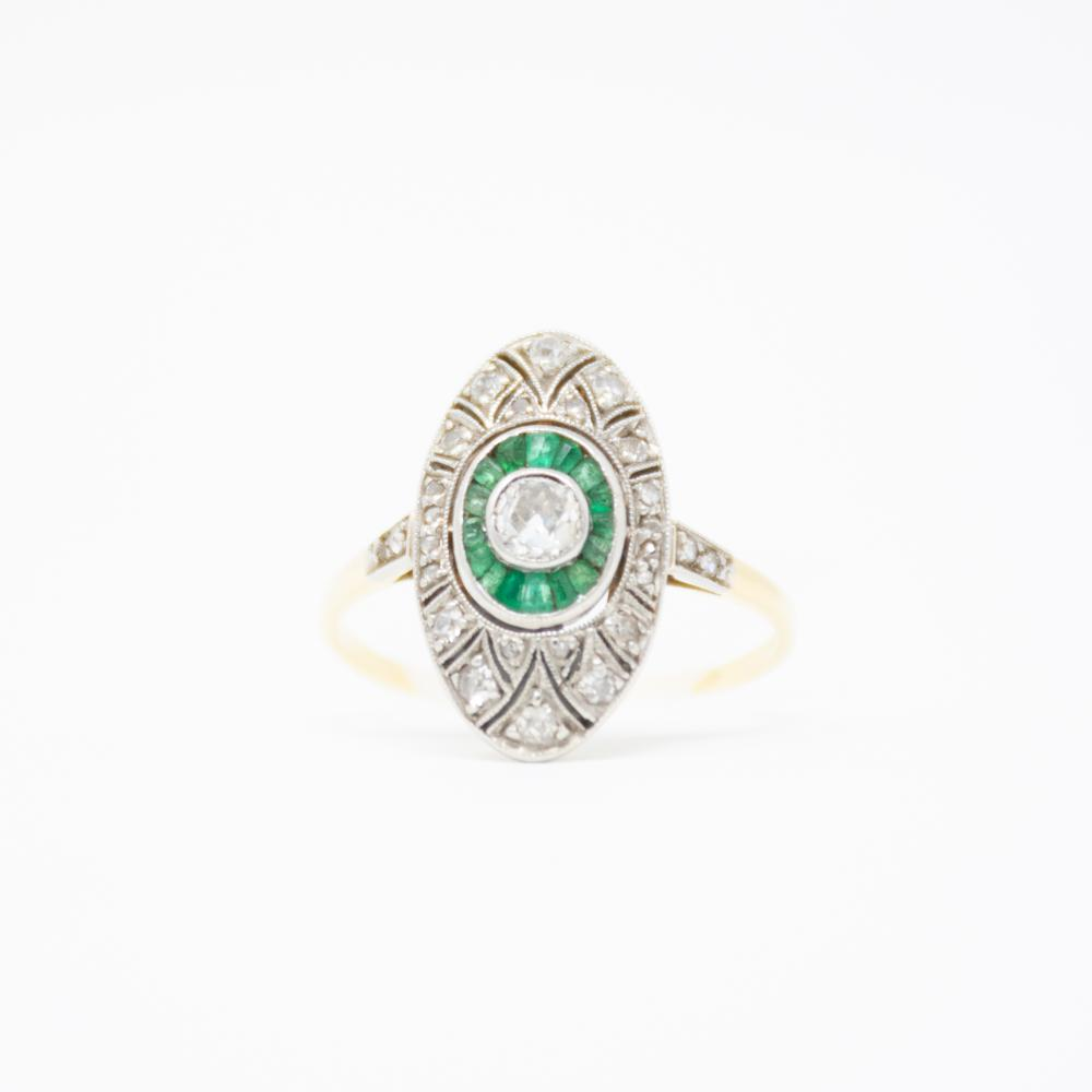 18KT/Platinum Art Deco Emerald And Diamond Ring