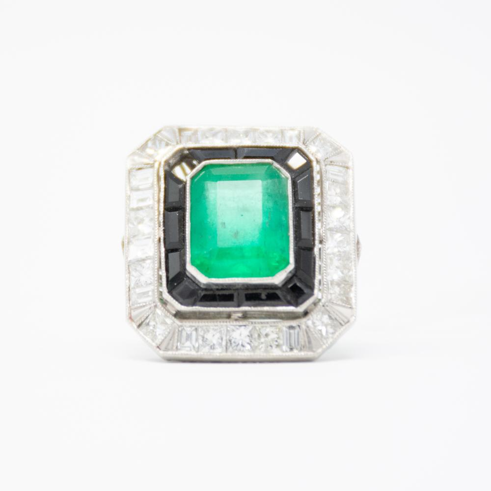 Platinum Diamond Onyx and Emerald Ring