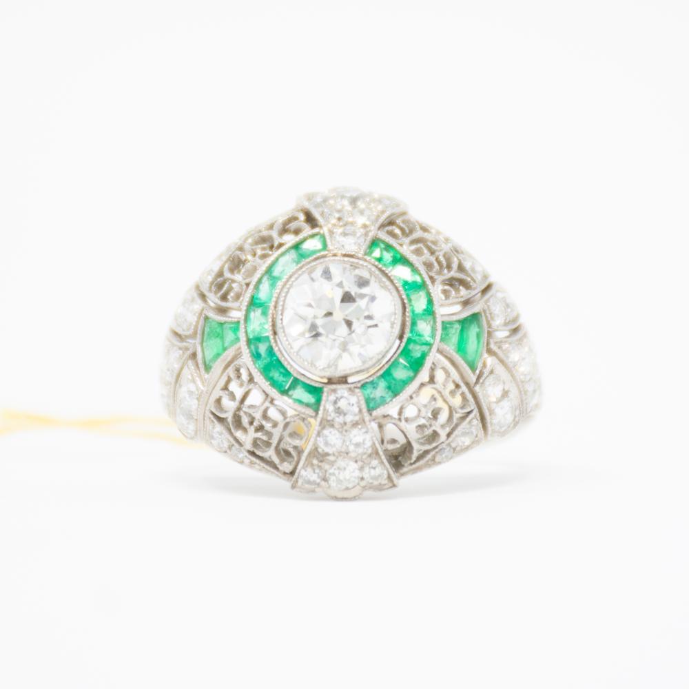 Platinum Estate Emerald and 2.00ct Diamond Ring