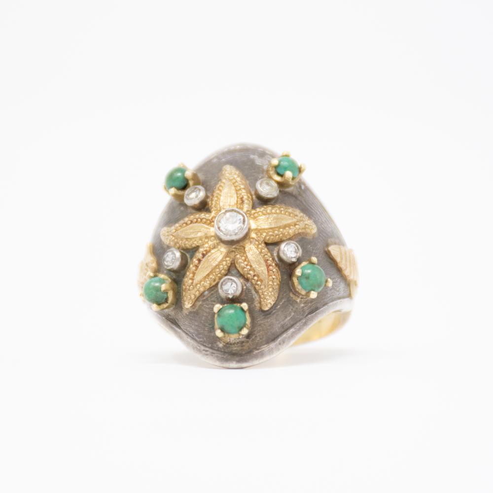 18KY  1930s Cozzolino Starfish and Diamond  Ring signed