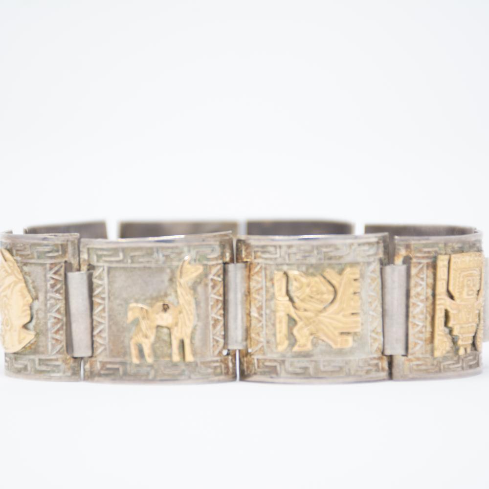 18KT/SS Vintage Peruvian Story teller bracelet