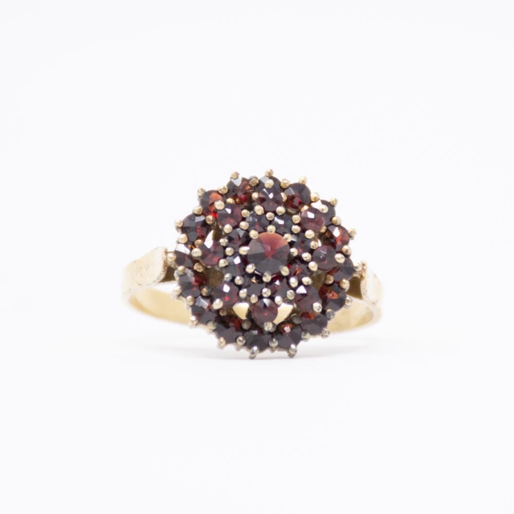 Vintage Bohemian Garnet Cluster Ring