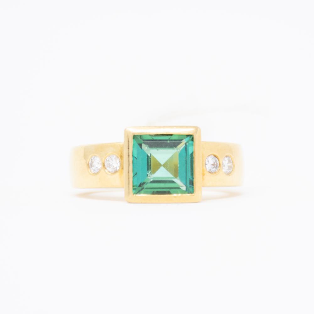 18KT Estate Indicolite Tourmaline and Diamond Ring