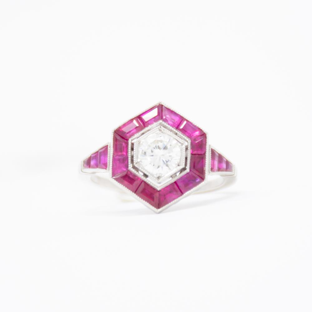 Platinum Estate  Ruby and Diamond Ring