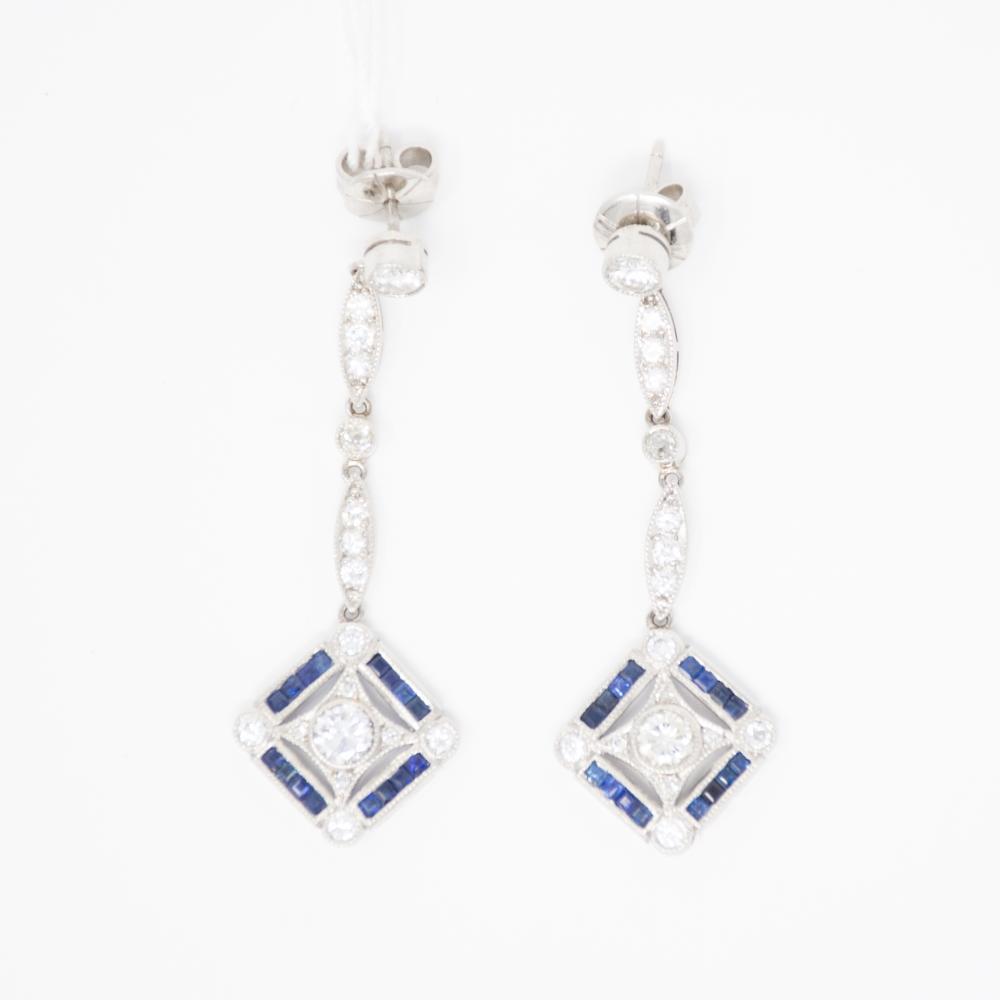 Platinum Estate Sapphire and Diamond Earrings