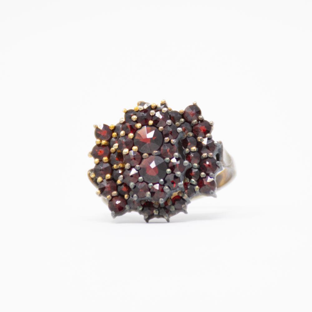 Antique Bohemian Garnet Cluster Ring Ring